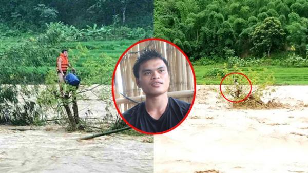 Cảm phục chàng trai cứu cụ ông thoát khỏi dòng nước lũ rồi tự giải cứu mình khi mắc kẹt ở ngọn cây