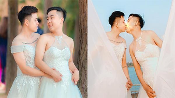 MXH xôn xao trước loạt ảnh cặp LGBT nam cùng mặc váy cô dâu, ôm hôn nhau say đắm