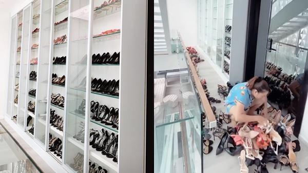 Choáng ngợp tủ giày 5 tỷ chạm nóc nhà của người đẹp Trà Vinh