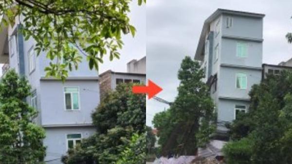 Nhà 5 tầng nghiêng ngả vẫn có thể dựng lại, đẳng cấp chỉ có ở Việt Nam